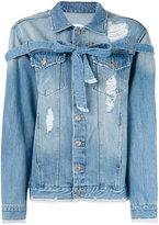 Sjyp lace-up denim jacket - women - Cotton - S