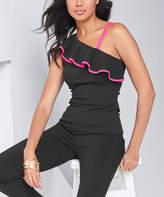 Venus Women's Blouses BKPK - Black & Hot Pink Ruffle-Accent Asymmetrical Tank - Women