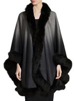 Sofia Cashmere Ombre Cashmere Cape with Fox-Fur-Trim Cape, Gray