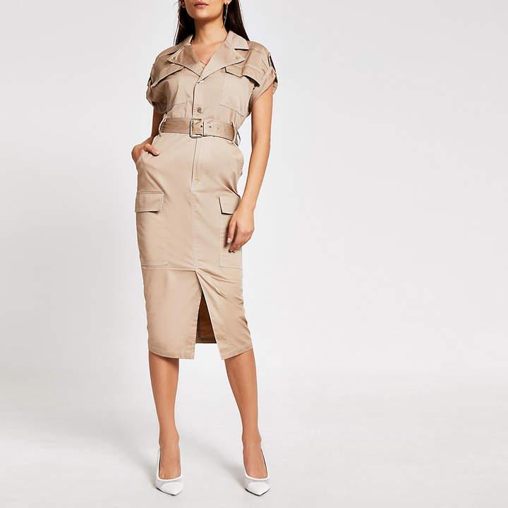 River Island Beige utility belted midi dress