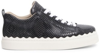 Chloé Lauren Python-Embossed Leather Sneakers