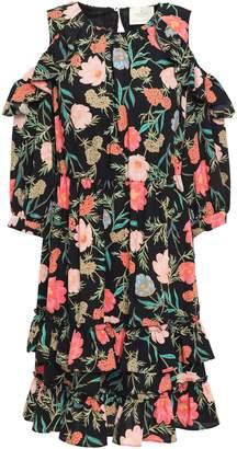 Kate Spade Cold-shoulder Floral-print Crepe Mini Dress