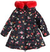 Dolce & Gabbana Floral Print Nylon Down Coat W/ Fur Trim