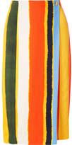 Tory Burch Fiona Striped Twill Wrap Midi Skirt - Yellow