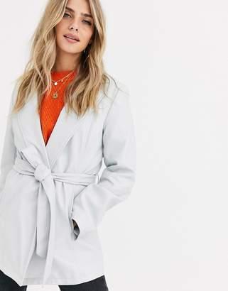 Asos Design DESIGN leather look belted jacket in grey