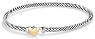 David Yurman Cable Collectibles Heart Bracelet With 18K Gold, 3Mm