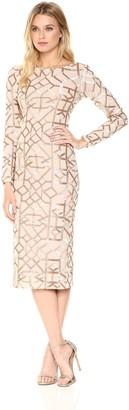 Dress the Population Women's Mila Long Sleeve Sequin Dress