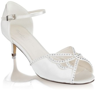 Paradox London Hisaki Ivory Extra Wide Fit Mid Heel Ankle Strap Sandals
