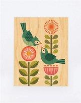 Petit Collage Large Unframed Print on Wood- Blue Bird Love