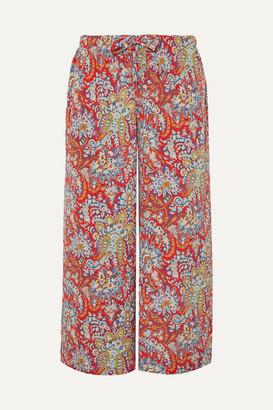 Etro Cropped Paisley-print Crepe Pants - Coral