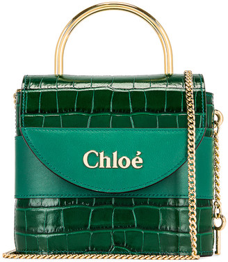 Chloé Small Abylock Embossed Croc Padlock Bag in Woodsy Green | FWRD