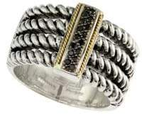 Effy Twisted 18K Gold & Sterling Silver Diamond Ring