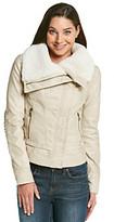 GUESS Asymmetrical Zip Faux Fur Jacket