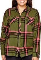 Arizona Long-Sleeve Plaid Shirt - Juniors Plus