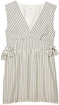 BB Dakota Yarn-Dye Rayon Stripe Dress with Waist Ties (Ivory) Women's Dress