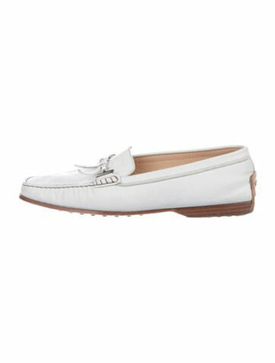 Tod's Leather Loafers Metallic