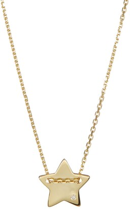 ADORNIA 14K Yellow Gold Plated Diamond Detail Star Charm Necklace - 0.01 ctw