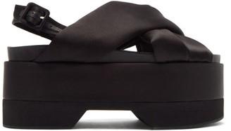 Simone Rocha Padded-satin Slingback Flatform Sandals - Black