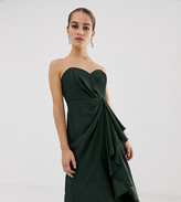 Asos DESIGN Petite structured bandeau midi dress with drape front