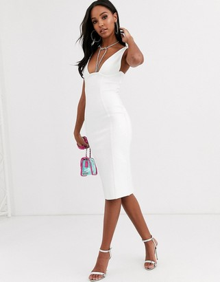 Band Of Stars extreme bandage plunge front midi dress in ivory