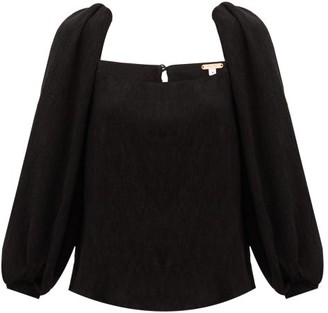 Johanna Ortiz Desert Square-neck Plisse Top - Black
