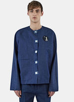 J.w. Anderson Men's Denim Tool Patch Shirt In Indigo