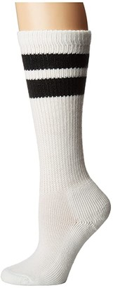 Thorlos Old School Over Calf Single Pair (White/Black Stripes) Knee High Socks Shoes