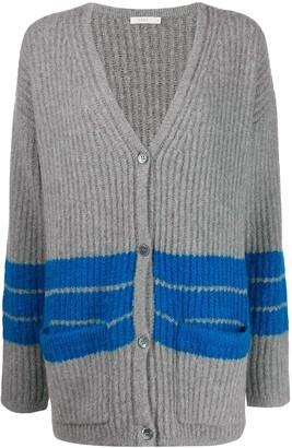 6397 striped V-neck cardigan