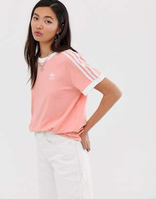 adidas adicolor three stripe t-shirt in pink