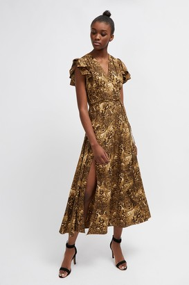 French Connection Animal Print Midi Tea Dress