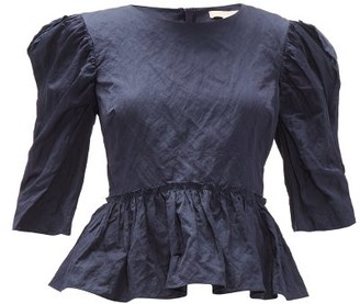 Brock Collection Puff-sleeve Satin Top - Navy