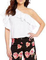 GB One-Shoulder Tiered Ruffle Poplin Crop Top