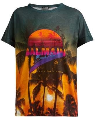 Balmain Beach Club-print Cotton T-shirt - Womens - Multi
