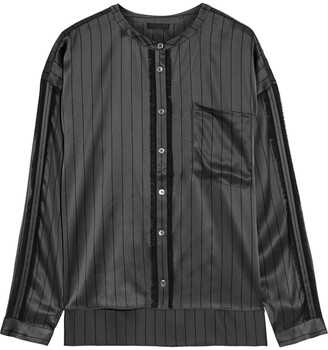 ATM Anthony Thomas Melillo Fringe-trimmed Pinstriped Silk-satin Shirt