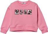 MSGM Pale Pink Beaded Logo Boxy Sweatshirt