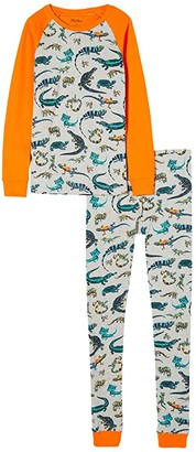 Hatley Rambunctious Reptiles Raglan PJ Set (Toddler/Little Kids/Big Kids) (Grey) Boy's Pajama Sets