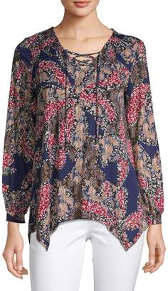 Style&Co. Style & Co. Printed Long-Sleeve Top