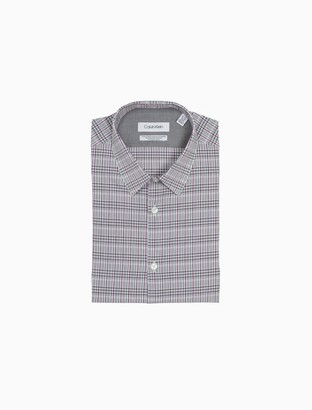 Calvin Klein Extra Slim Fit Berry Plaid Temperature Regulation Dress Shirt