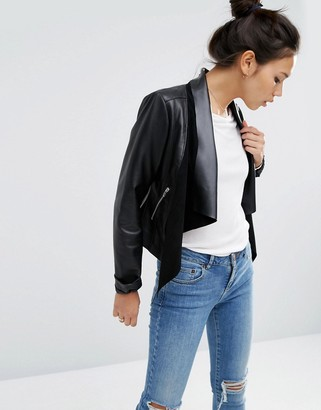 Asos Design ASOS Leather Waterfall Jacket