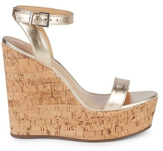 Schutz Metallic Cork Wedge Sandals