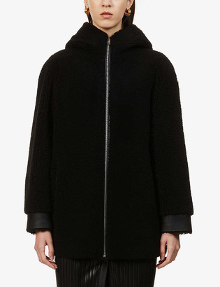 Maje Green leather and shearling coat