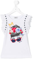 MonnaLisa girl print top - kids - Cotton/Spandex/Elastane - 4 yrs