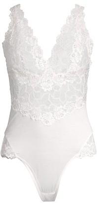 Josie Natori Warm White Rose Parfait Essentials Lace Bodysuit