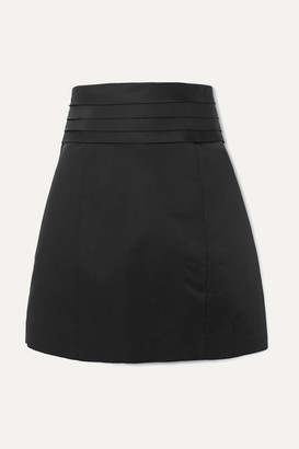 Redemption Pleated Satin Mini Skirt - Black