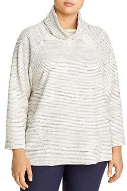 Nic and Zoe Plus Cowl Neck Pinstriped Turtleneck
