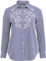 Ralph Lauren Woman Striped Eyelet Cotton Shirt