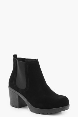 boohoo Wide Fit Suedette Cleated Heel Chelsea Boots