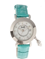 BERTHA Bertha Womens Hannah Mother-Of-Pearl Turquoise Leather-Band Watch With Datebthbr5601