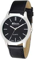 Ravel Deluxe Classic Men's Quartz Watch with Black Dial Analogue Display and Black Leather Strap RD005.1GL