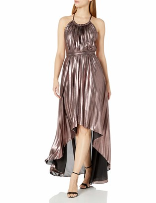 BCBGMAXAZRIA Azria Women's Valerie Woven Metallic Pleated Halter Dress